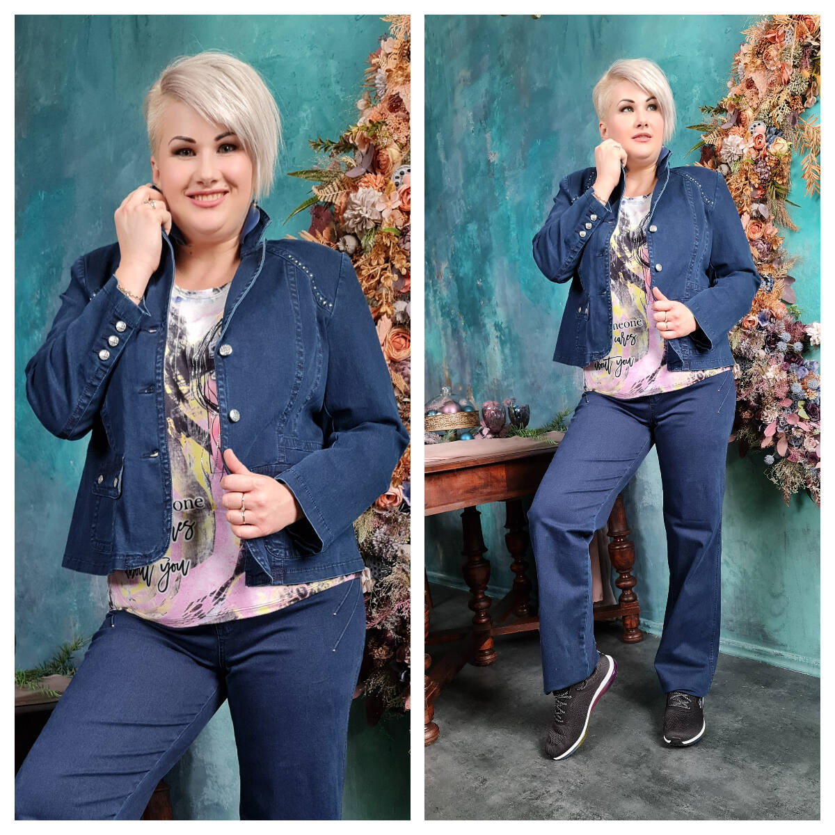 Denise blézer - molett Lafei-Nier kék pamut blézer