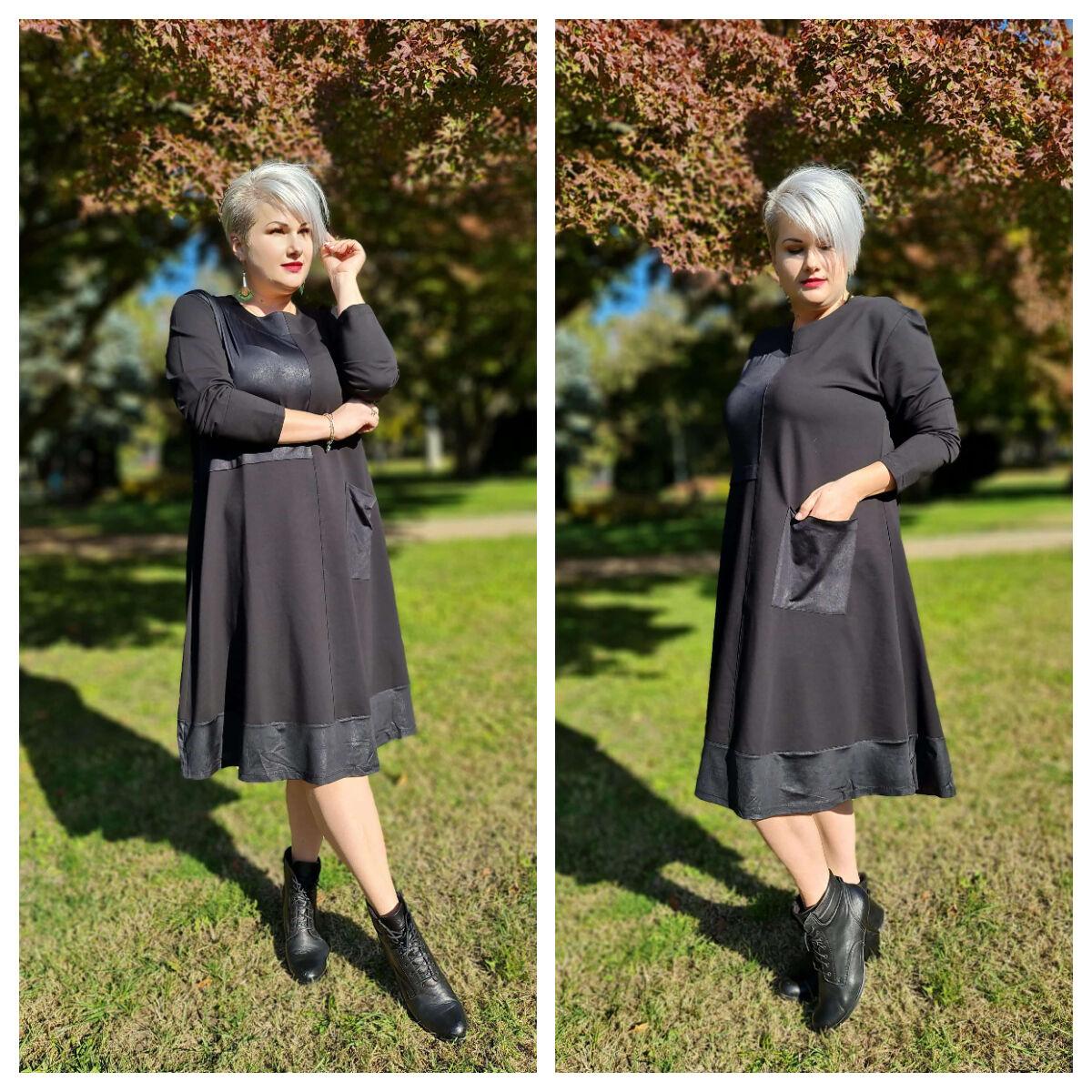 Carolyn ruha - nagyméretű fekete ruha