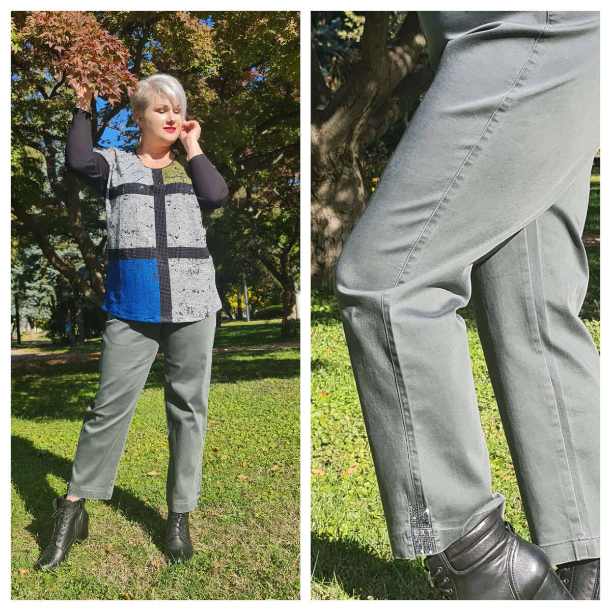 Cheryl nadrág - nagyméretű zöld nadrág