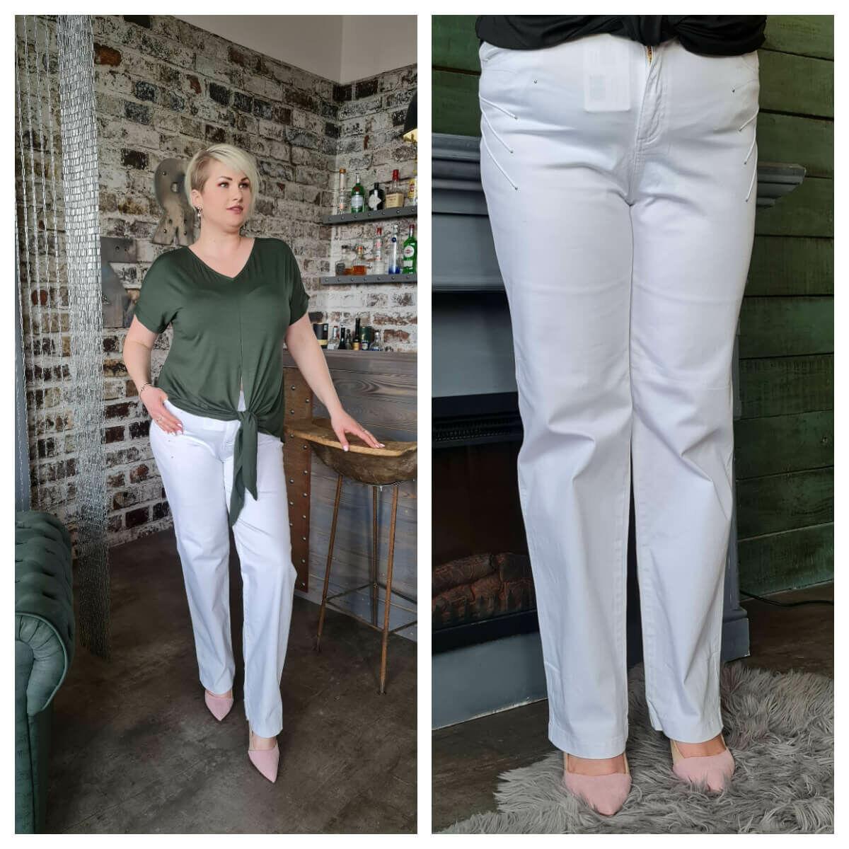 Betta nadrág - molett Lafei-Nier fehér pamut nadrág