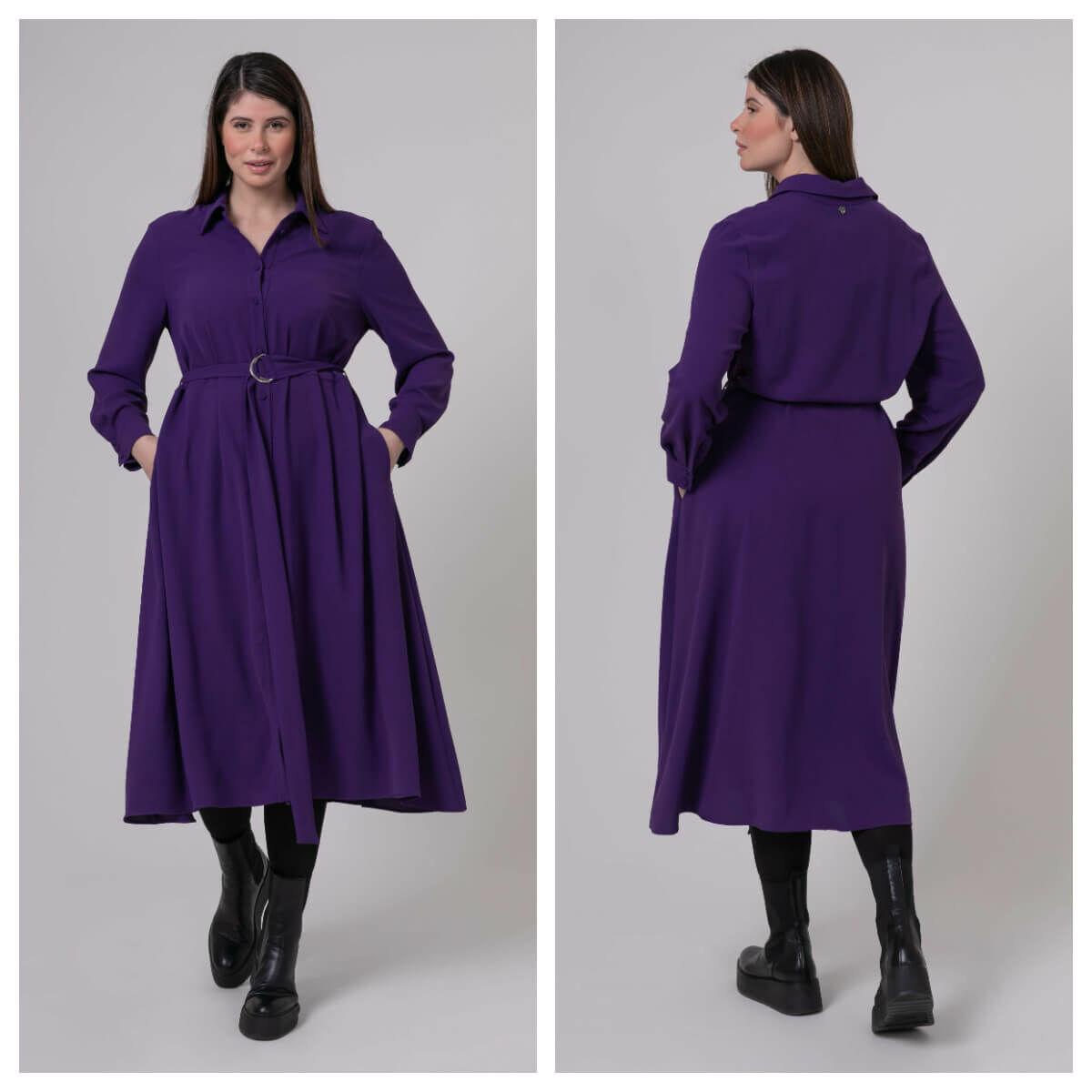 Tina ruha - plus size lila ruha