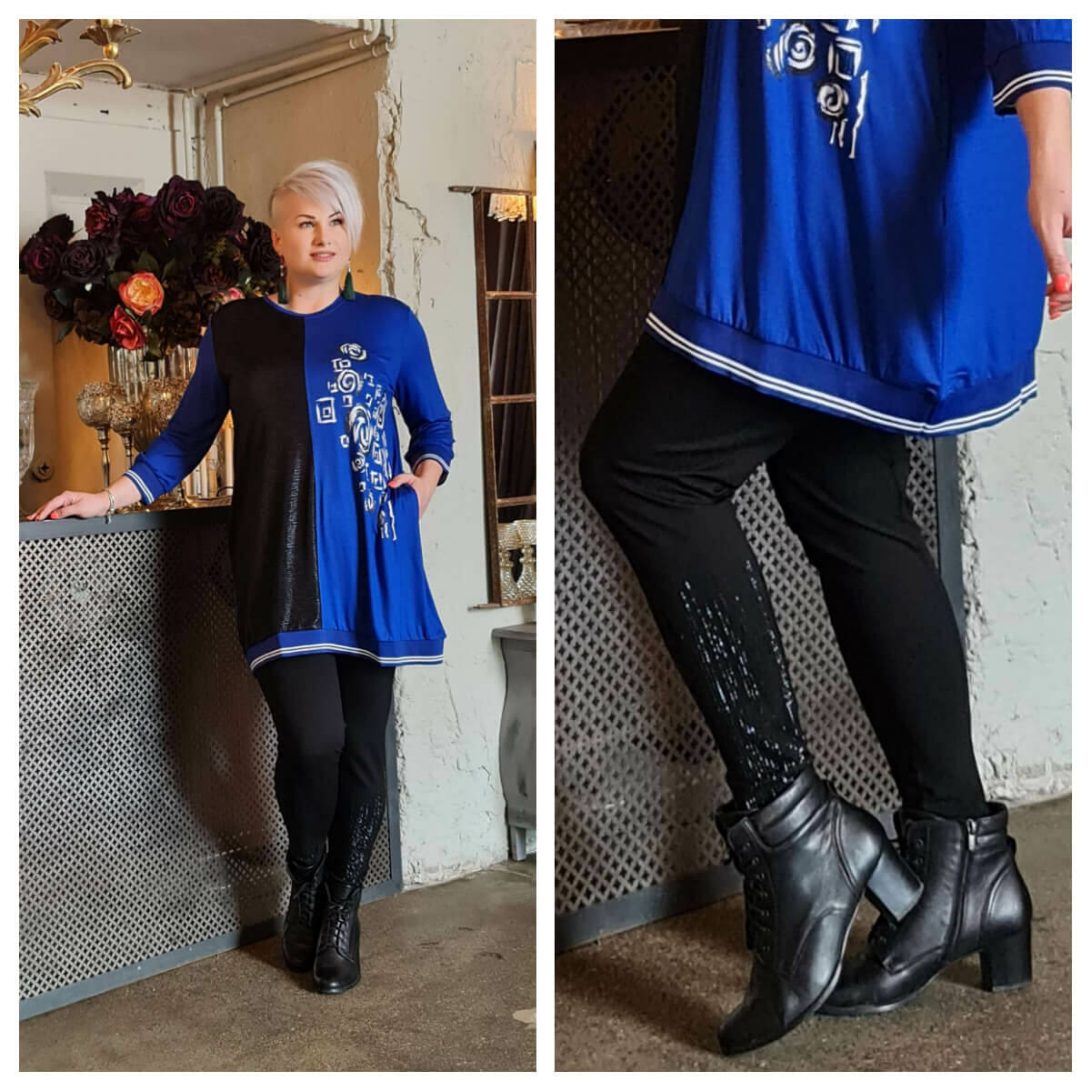 Gisela leggings - köves fekete leggings