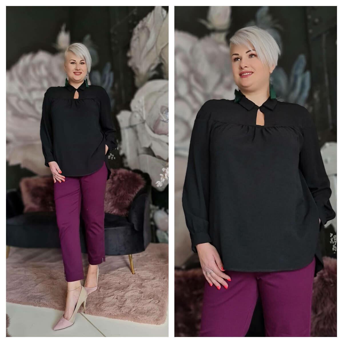 Nicole ing - nagyméretű fekete ing
