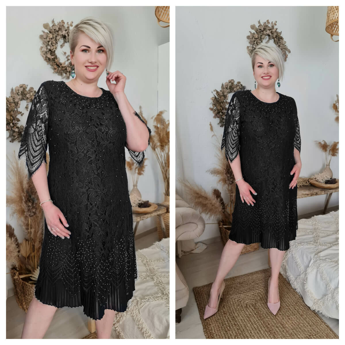 Simone ruha - nagyméretű fekete csipke ruha
