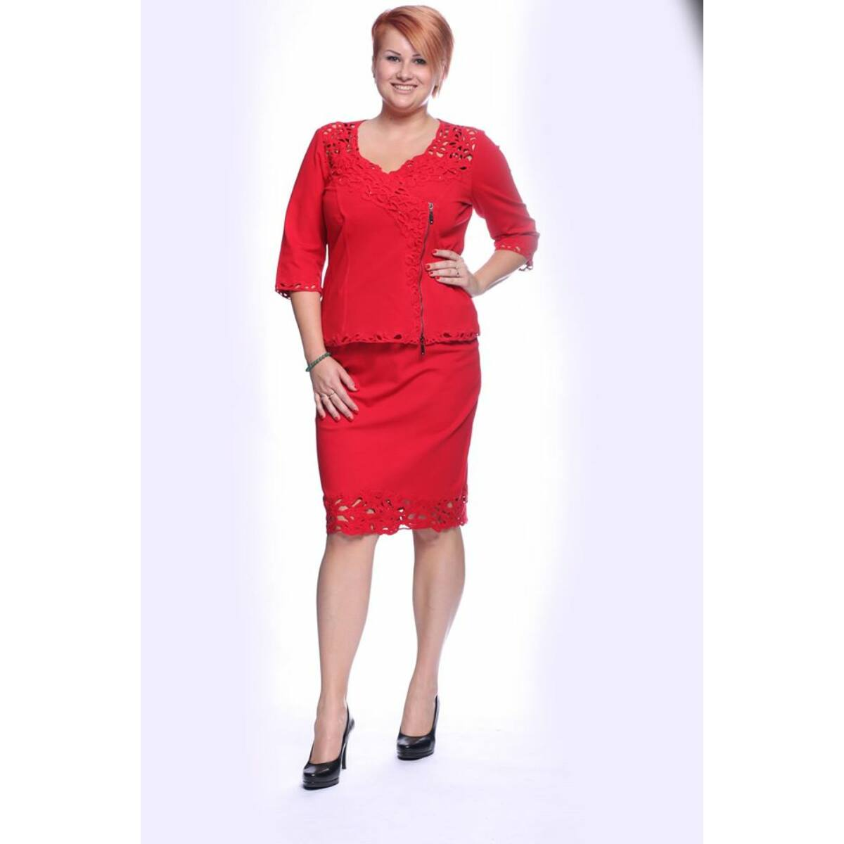 Nancy szoknya - plus size Lafei-Nier piros csipke szoknya