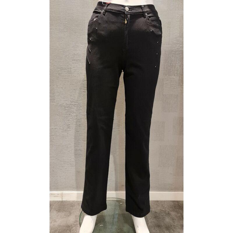 Genovéva nadrág - nagyméretű Lafei-Nier fekete pamut nadrág
