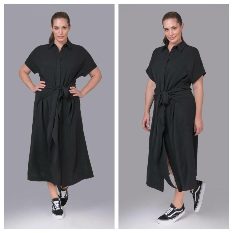 Abiáta ruha - plus size fekete maxi ruha