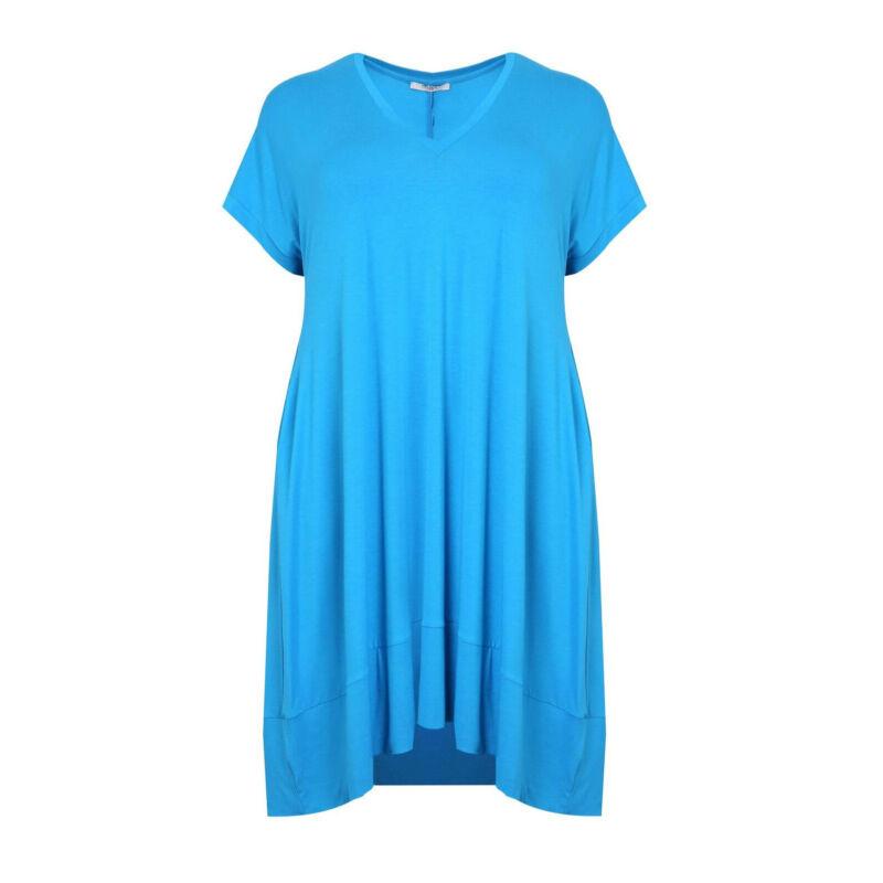 Padma ruha - nagyméretű V-nyakú türkiz ruha
