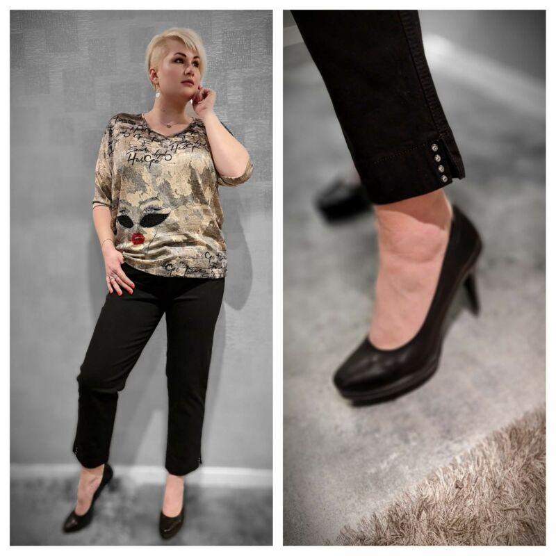 Ginerva nadrág - molett Lafei-Nier fekete pamut nadrág
