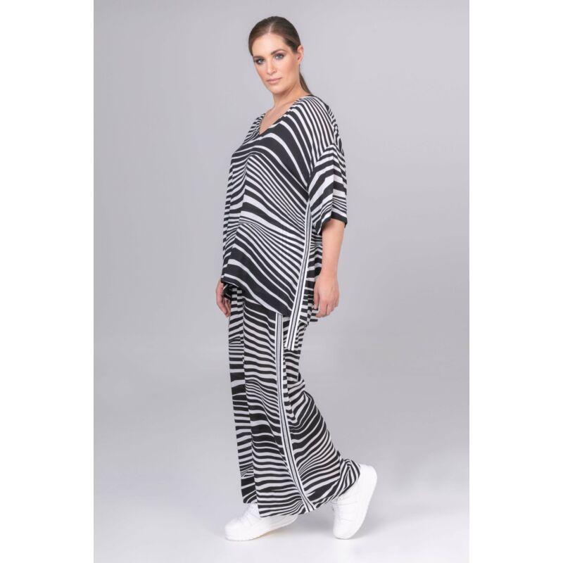 Farah felső - MAT Fashion molett fekete-fehér felső