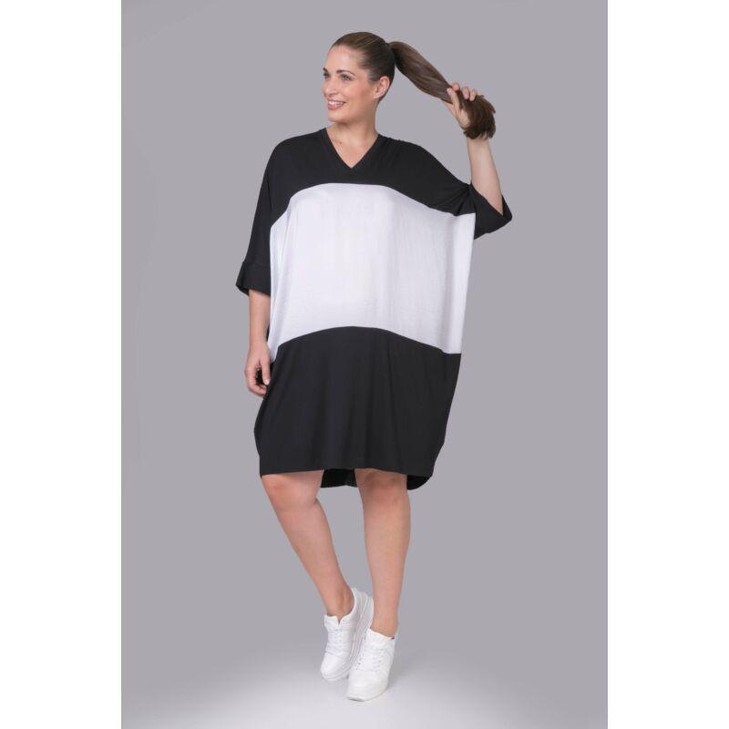 Flavie ruha - extra méretű fekete-fehér ruha