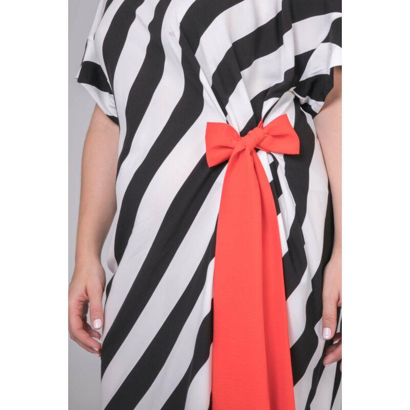 Gitta ruha - molett fekete-fehér csíkos ruha