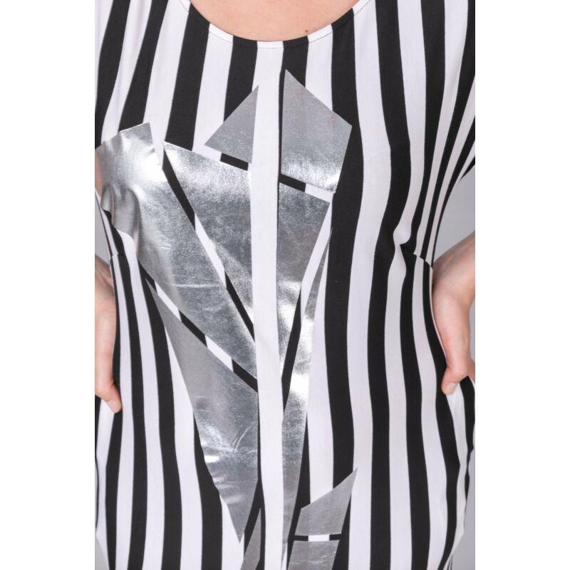 Ilda ruha - molett csíkos maxi ruha