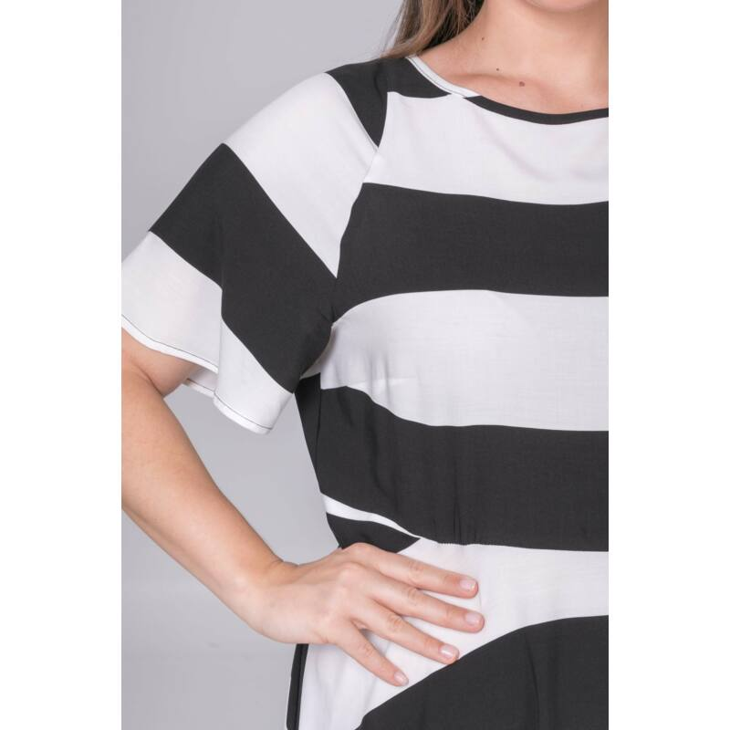 Ivon ruha - plus size csíkos maxi ruha