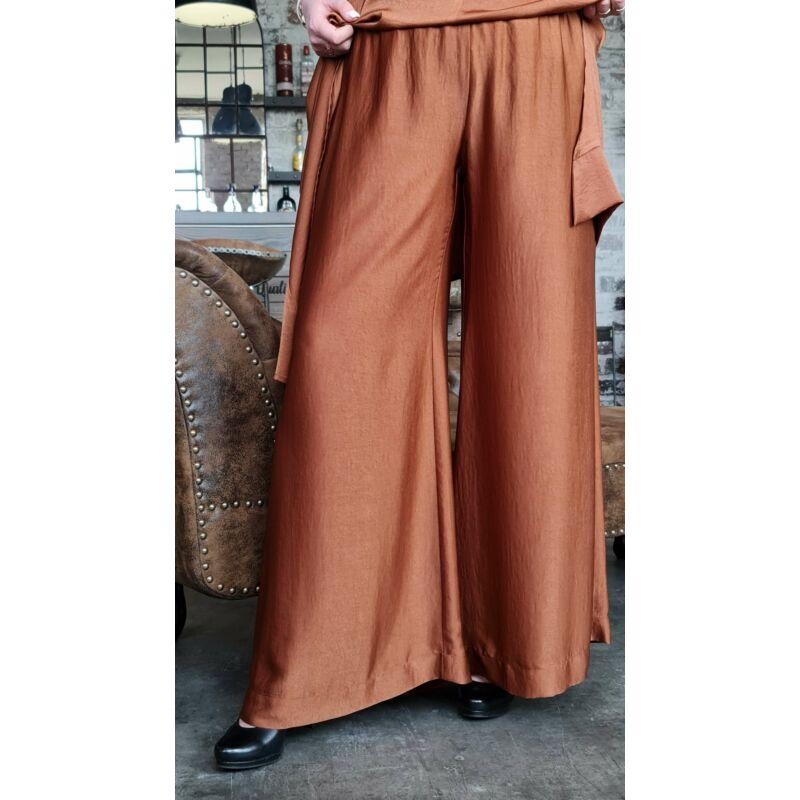 Antea nadrág - barna molett szatén trapéz nadrág
