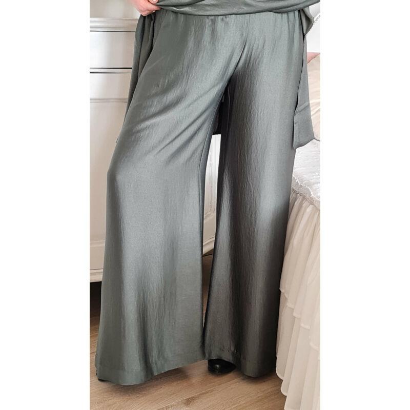 Dalma nadrág - molett keki szatén trapéz nadrág