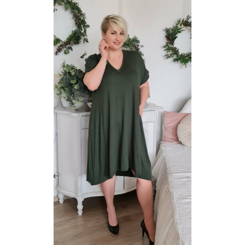 Lulu ruha - plus size V-nyakú zöld ruha