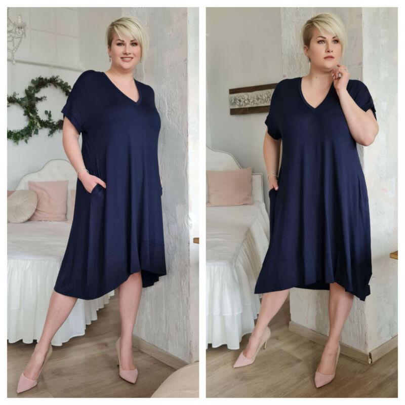 Lyna ruha - plus size V-nyakú kék ruha